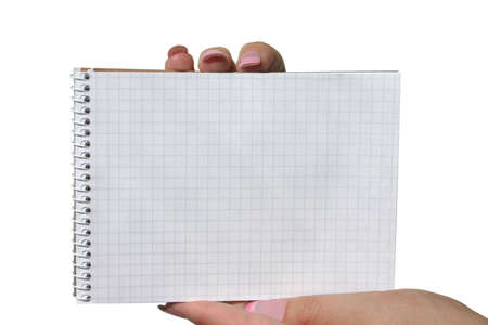 hands holding blank spiral notebook photo