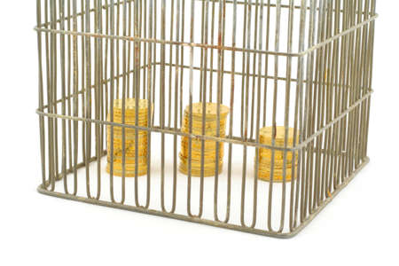 banking - coins in cage on white photo