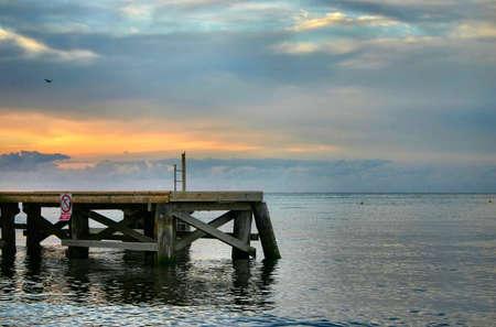 murk: evening pier Stock Photo