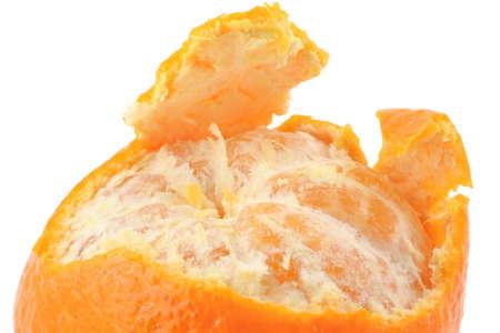 macro of a peeled tangerine on pure white background Stock Photo - 356246