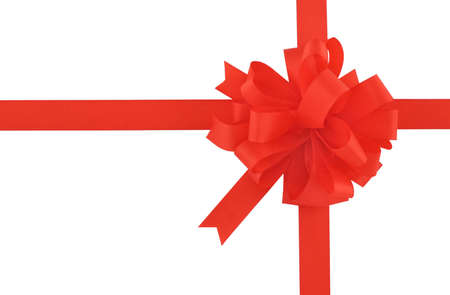 red bow and ribbon on pure white background Stock Photo