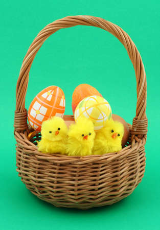 easter basket on green photo