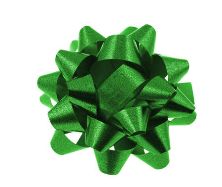 insulate: green bow on pure white background