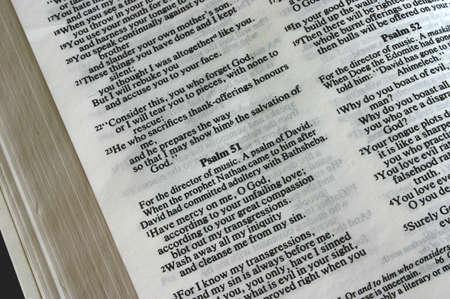 salmo: Sacra Bibbia - Salmo 51  Archivio Fotografico