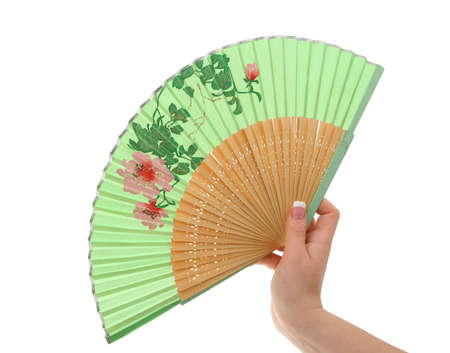 female hand with decorated fan #3 photo