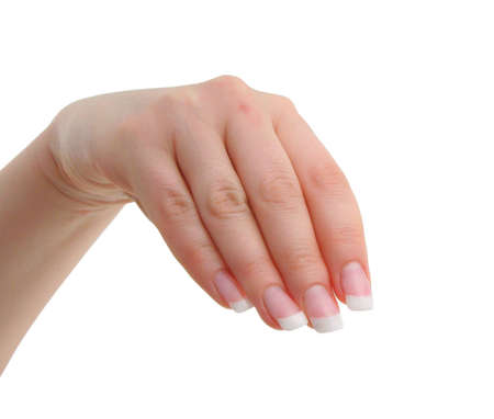 manicured: female manicured hand Stock Photo