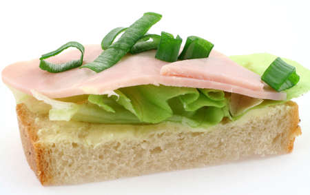 chive: macro of tasty ham sandwich with lettuce and chive on white bread