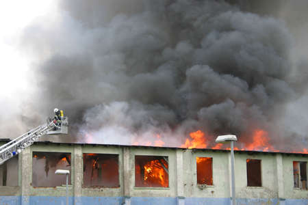 warehouse building: building on fire
