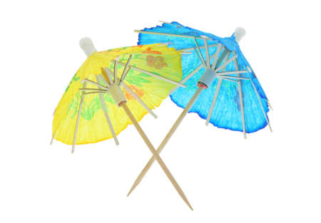 two asian cocktail umbrellas - pure white background photo