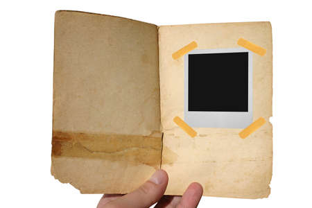 aged open book with frame photo