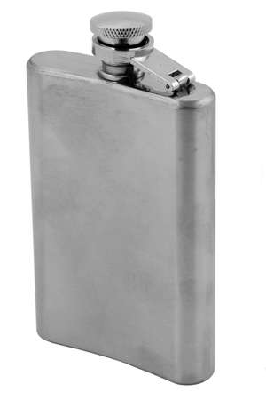 hip flask: hip flask on pure white background
