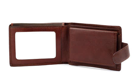 bordering: brown leather wallet with a blank space for credit card #2