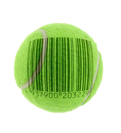 commercialised tennis metaphor - bar code is fake Stock Photo - 593395