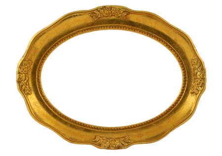 marcos decorados: marco oval dorado Foto de archivo