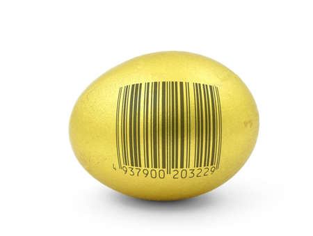 golden egg with fake bar code photo
