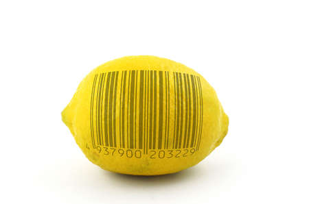 lemon to scan - bar code is fake Stock Photo - 593387