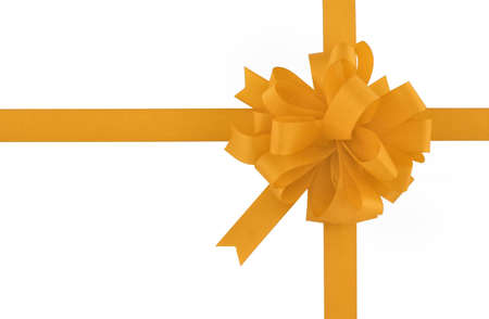 yellow bow and ribbon on pure white background Stock Photo - 593372