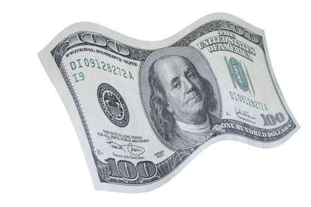 cashing: falling down 100 dollar note