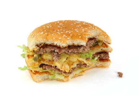 foodie: half-eaten delicious hamburger