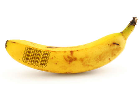 ripe banana with fake bar code photo