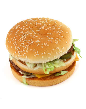appetizing hamburger on white - top view photo