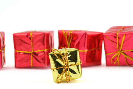 christmas gifts on white photo