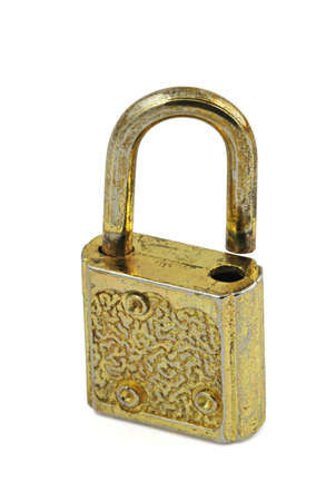 macro of vintage padlock in open position photo
