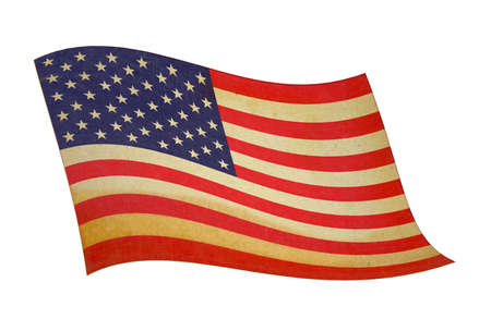 retro wavy american flag with well visible cloth texture photo