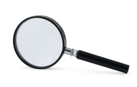 enlarge: close-up of magnifying glass on white