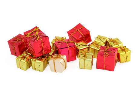 group of various christmas gifts on white Stock Photo - 667367