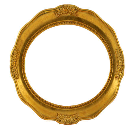 sculpt: circular golden frame isolated on white