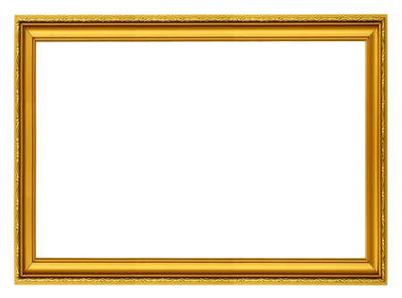 adorning: golden horizontal frame isolated on white Stock Photo