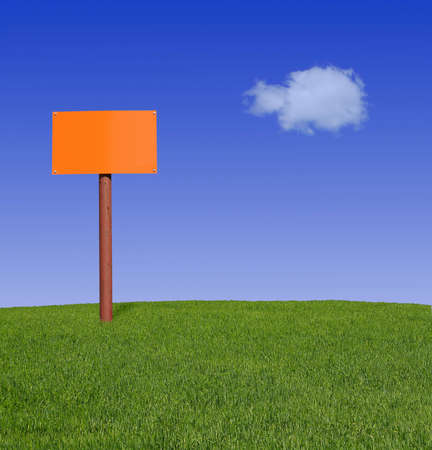 sign post in the meadow Stock Photo - 715215