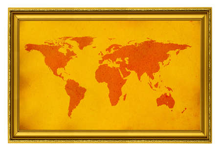 world map in golden frame isolated on white Stock Photo - 714646