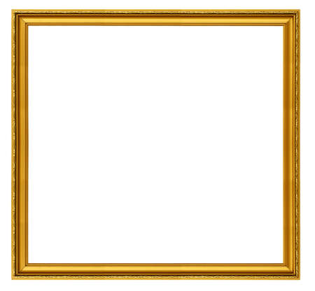 sculpt: XXL size golden square frame isolated on white Stock Photo