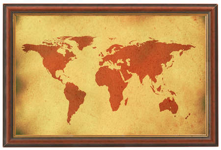 old world map in wooden frame Stock Photo - 726666
