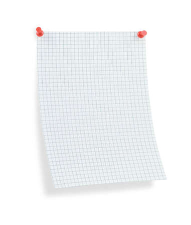 thumbtacked: blank thumbtacked squared paper page with shadow