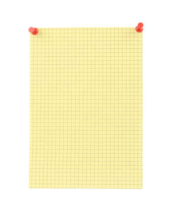 yellow blank thumbtacked squared paper page Stock Photo - 751245