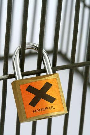 padlock with harmful sign