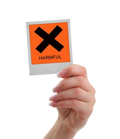 injurious: harmful warning Stock Photo
