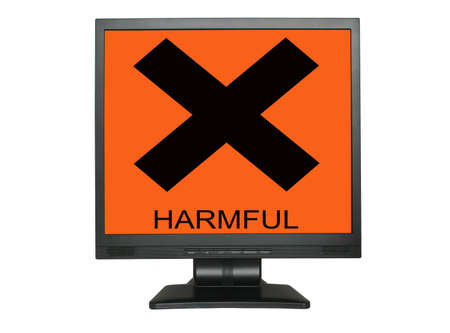 LCD screen with harmful sign isolated on white background Stock Photo - 752065