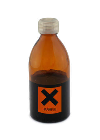 injurious: small glass bottle with harmful sign