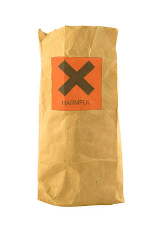 injurious: brown paper bag with harmful sign