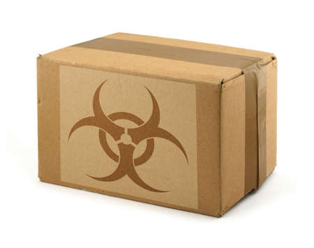 cardboard box with Biohazard Symbol photo