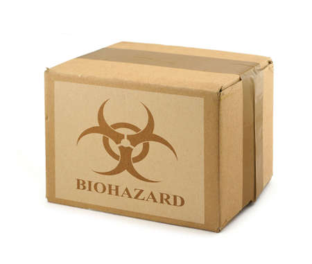 cardboard box with Biohazard Symbol #2 photo