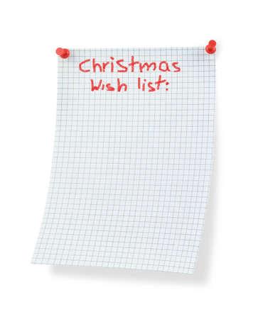 thumbtacked: christmas wish list isolated on white