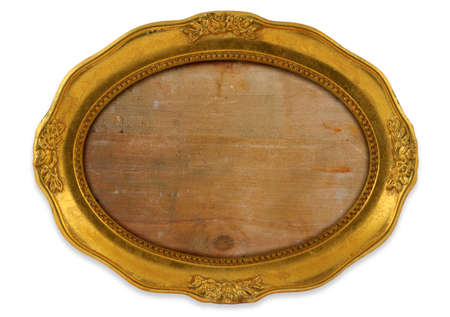 embrasure: gilded oval frame with background isolated on white Stock Photo