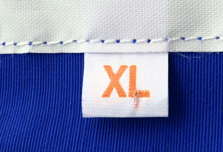 real macro of XL size clothing label photo