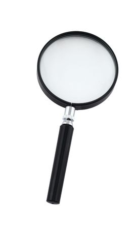 close-up of magnifying glass on white - top view photo