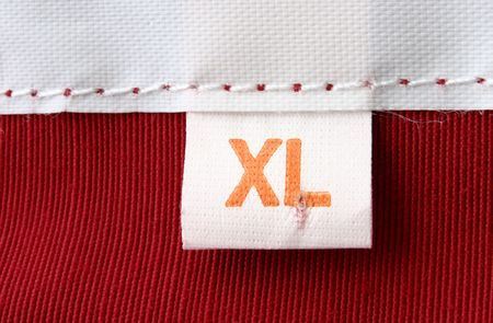 real macro of clothing label - SIZE XL